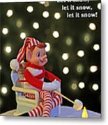 Vintage Christmas Elf Toasting A Marshmallow Metal Print by Barbara West