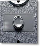 Vintage Coin Slot Machine Panel With Button Front Metal Print by Allan Swart