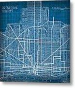 Vintage Detroit Rail Concept Street Map Blueprint Plan Metal Print