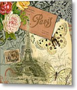 Vintage Eiffel Tower Paris France Collage Metal Print