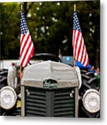 Vintage Ferguson Tractor With American Flags Metal Print