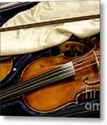 Vintage Fiddle In The Case Metal Print