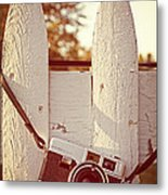 Vintage Film Camera On Picket Fence Metal Print by Edward Fielding