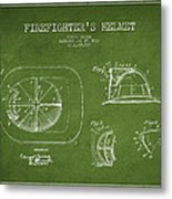 Vintage Firefighter Helmet Patent Drawing From 1932 - Green Metal Print