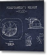 Vintage Firefighter Helmet Patent Drawing From 1932 - Navy Blue Metal Print