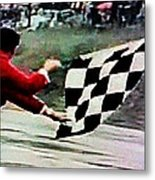 Vintage Formula Race Checkered Flag Metal Print