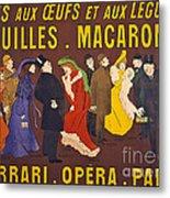 Vintage French Paris Opera Pasta Poster Metal Print