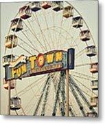 Vintage Funtown Ferris Wheel Metal Print