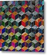 Vintage Geometric Cubes Metal Print