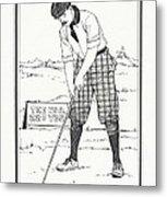 Vintage Golfer 1900 Metal Print