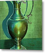 Vintage Green Pewter Pitcher Metal Print