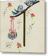 Vintage Greeting. Baby Bluebirds Bring Gift For New Infant Metal Print