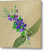 Vintage Greeting. Bouquet Of Purple Spray Flowers With Green Ribbon.  Metal Print