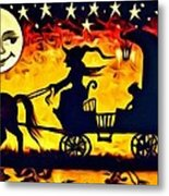 Vintage Halloween Scene Metal Print