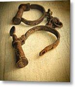 Vintage Handcuffs Metal Print