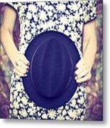 Vintage Hat Flower Dress Woman Metal Print