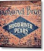 Vintage Hood River Pear Crate Metal Print