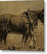 Vintage Horse Plow Metal Print