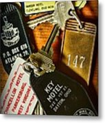 Vintage Hotel Keys Metal Print