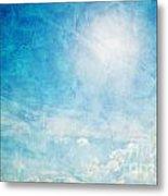 Vintage Image Of Sunny Blue Sky Metal Print