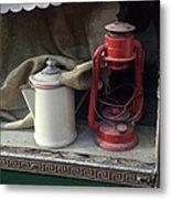 Vintage Kerosene Lamp And Vintage Metal Print