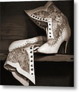Vintage Lace Boots In Sepia Metal Print