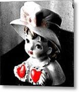 Vintage Lady Head Vase - Black And White With Red Metal Print