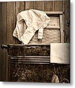 Vintage Laundry Room In Sepia Metal Print