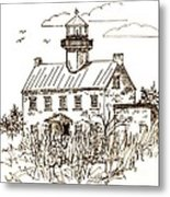 Vintage Lines Of East Point Lighthouse Metal Print