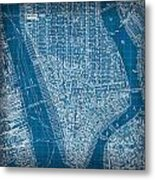 Vintage Manhattan Street Map Blueprint Metal Print