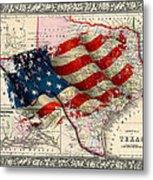 Vintage Map Of Texas 2 Metal Print