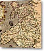 Vintage Map Of Wales 1633 Metal Print