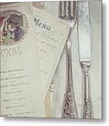 Vintage Menu Cards Knife And Fork Metal Print