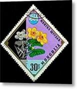 Medicinal Plants - Vintage Mongolia Stamp Metal Print