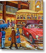 Vintage Montreal-st.catherine And Union-couples And Streetcars Metal Print