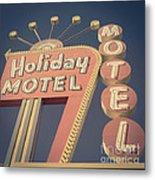 Vintage Motel Sign Holiday Motel Square Metal Print