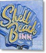 Vintage Neon- Shell Beach Inn Metal Print