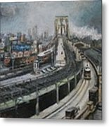 Vintage New York City Brooklyn Bridge Metal Print