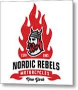 Vintage Nordic Rebels Motorcycles Metal Print