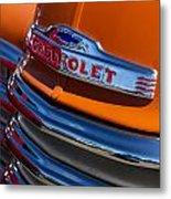Vintage Orange Chevrolet Metal Print by Carol Leigh