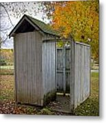 Vintage Outhouse Alongside A Historical Country School In Southwest Michigan Metal Print