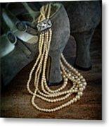 Vintage Pearls And Shoes Metal Print
