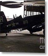 Vintage Planes Silhouette Metal Print