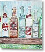 Vintage Pop Bottles Metal Print