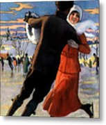 Vintage Poster Couples Skating At Christmas On Frozen Pond Metal Print