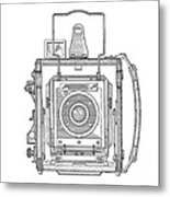 Vintage Press Camera Patent Drawing Metal Print