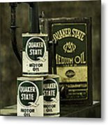 Vintage Quaker State Motor Oil Metal Print by Betty Denise