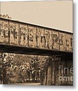 Vintage Railway Bridge In Sepia Metal Print