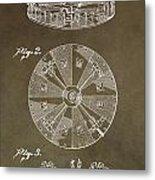 Vintage Roulette Wheel Patent Metal Print