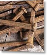 Vintage Rusty Square Nails Metal Print